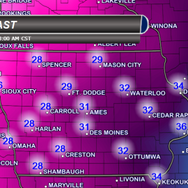 Iowa Temperatures Sunday Night