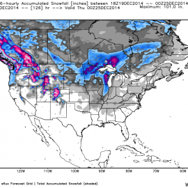 GFS 6 Hourly Accumulated Snowfall