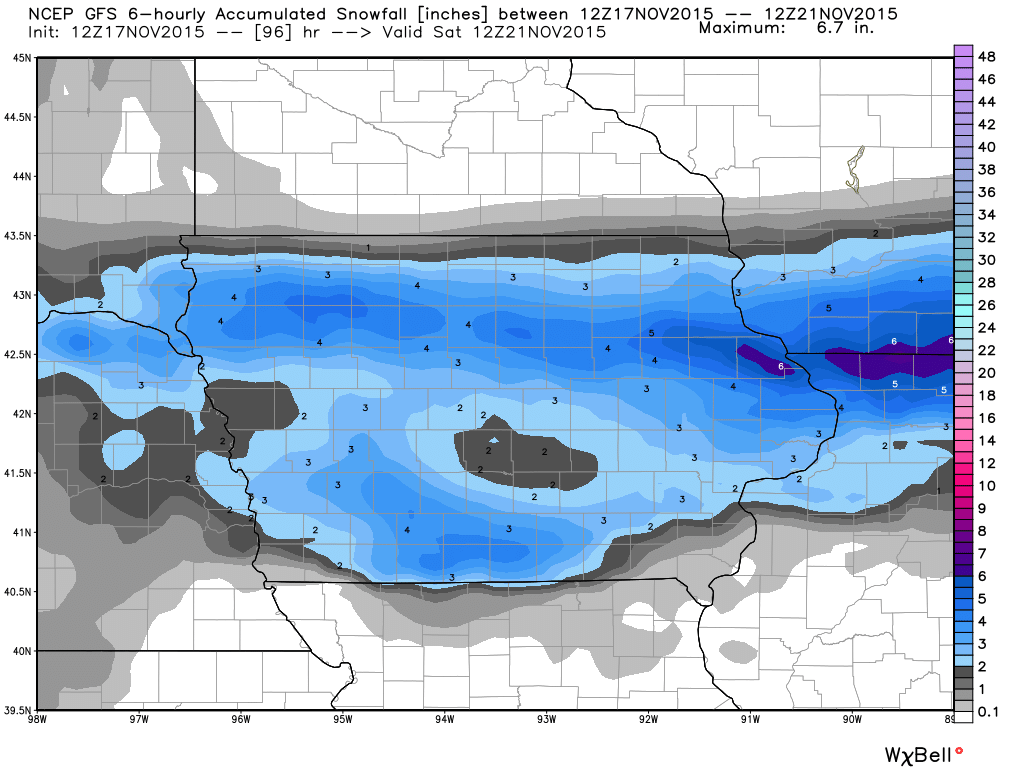 First Snowfall of the Year? - Iowa Storm Chasing NetworkIowa ... on current temperature map, 24 hour snow map, us average annual snowfall map, snow prediction map, projected snowfall map, snowfall prediction map, snowfall weather map, snowfall potential map,